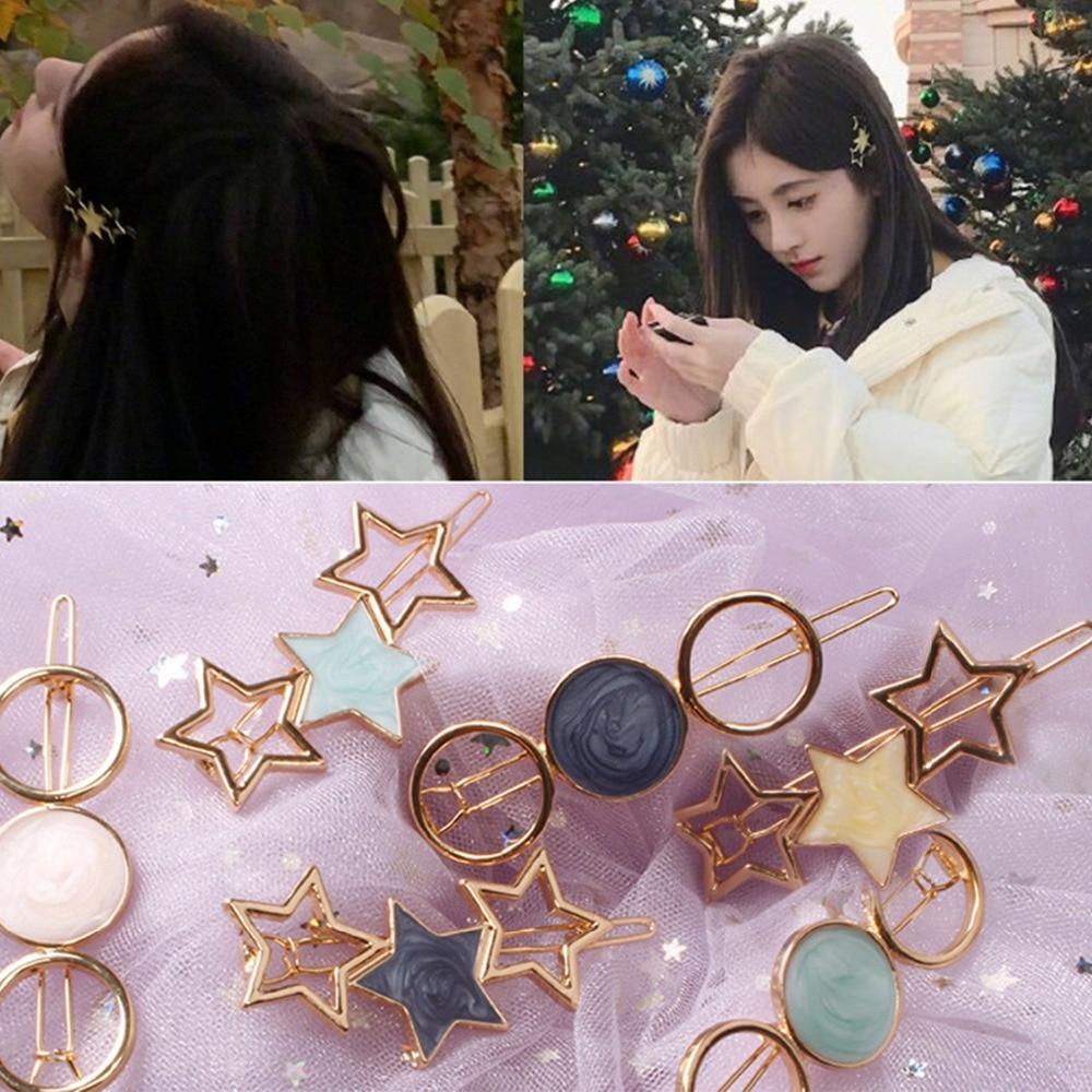 CN Hair Accessories Star Alloy Hair Clip For Women Girls Acetate Round Hairpins Hair Ornament Headband ColorfulBarrettes