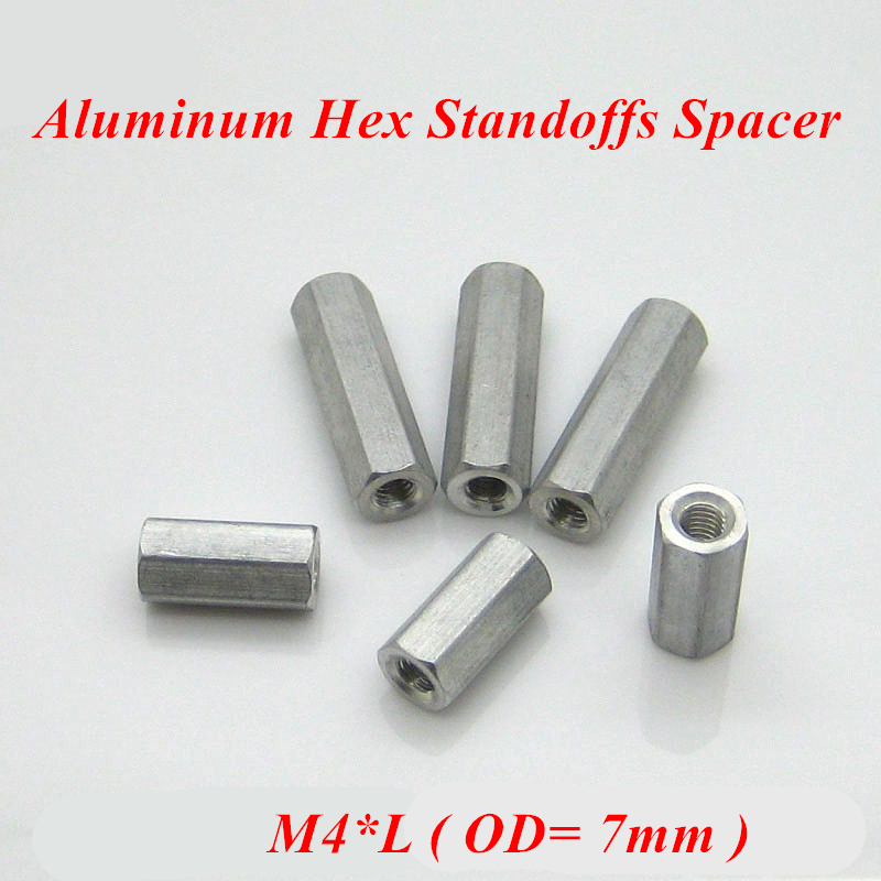 10pcs <font><b>M4</b></font> Hex Aluminum Standoff Spacer For RC Parts aluminum Rods Screws Hex Aluminum Pillar <font><b>M4</b></font>*12/15/20/25/<font><b>30</b></font>/35/40/45/50/60 image