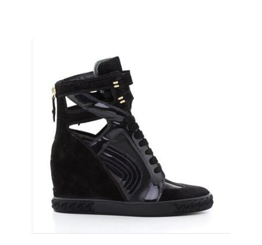 Hot Selling High Top Wedges Women Black Cut Outs Shoes Round Toe Back Zipper Shoes Fashion Short Boots Outdoor Shoes Plus Size10 стоимость