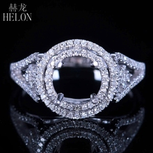 HELON Solid 14k White Gold 6.5-7mm Round Cut Pave 0.4ct Natural Diamonds Engagement Semi Mount Exquisite Women Fine Jewelry Ring