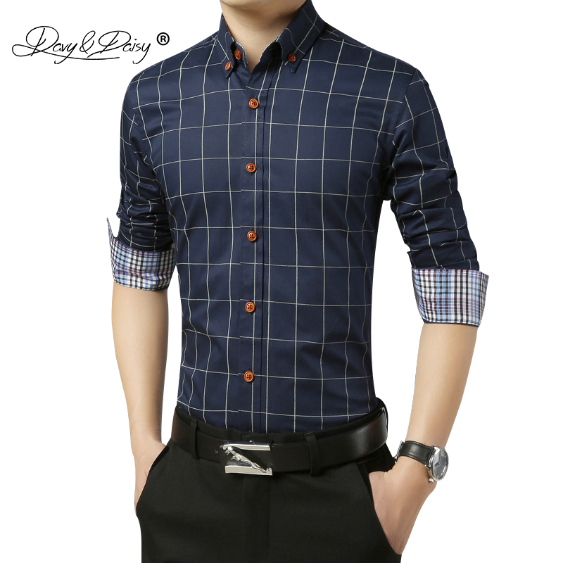 DAVYDAISY New Arrival 2020 Autumn Men Shirt Long Sleeve Man Business Plaid Shirt Brand Clothing Dress Shirt Man 6 Colors DS038