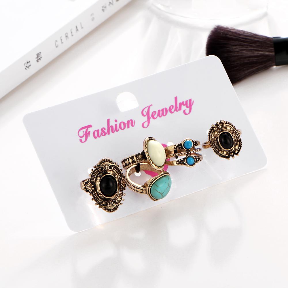 HTB1fk0eQVXXXXXrapXXq6xXFXXXJ Women Bohemian Style 5-Pieces  Antique Knuckle Ring Set With Stone Accents - 2 Colors