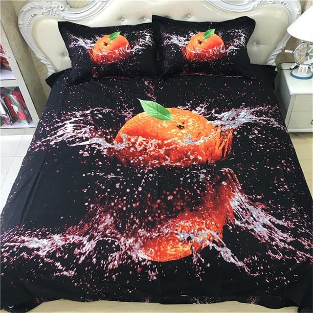 Modern Chic Design 3d Fruit Orange Bedding Sets Queen Size 100% Cotton  Fabric Bed Sheets