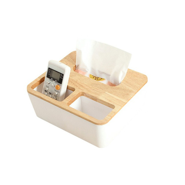 1Pcs Home Decoration Napkins Holder Oak Wooden Tissue Box Home Dispenser Box