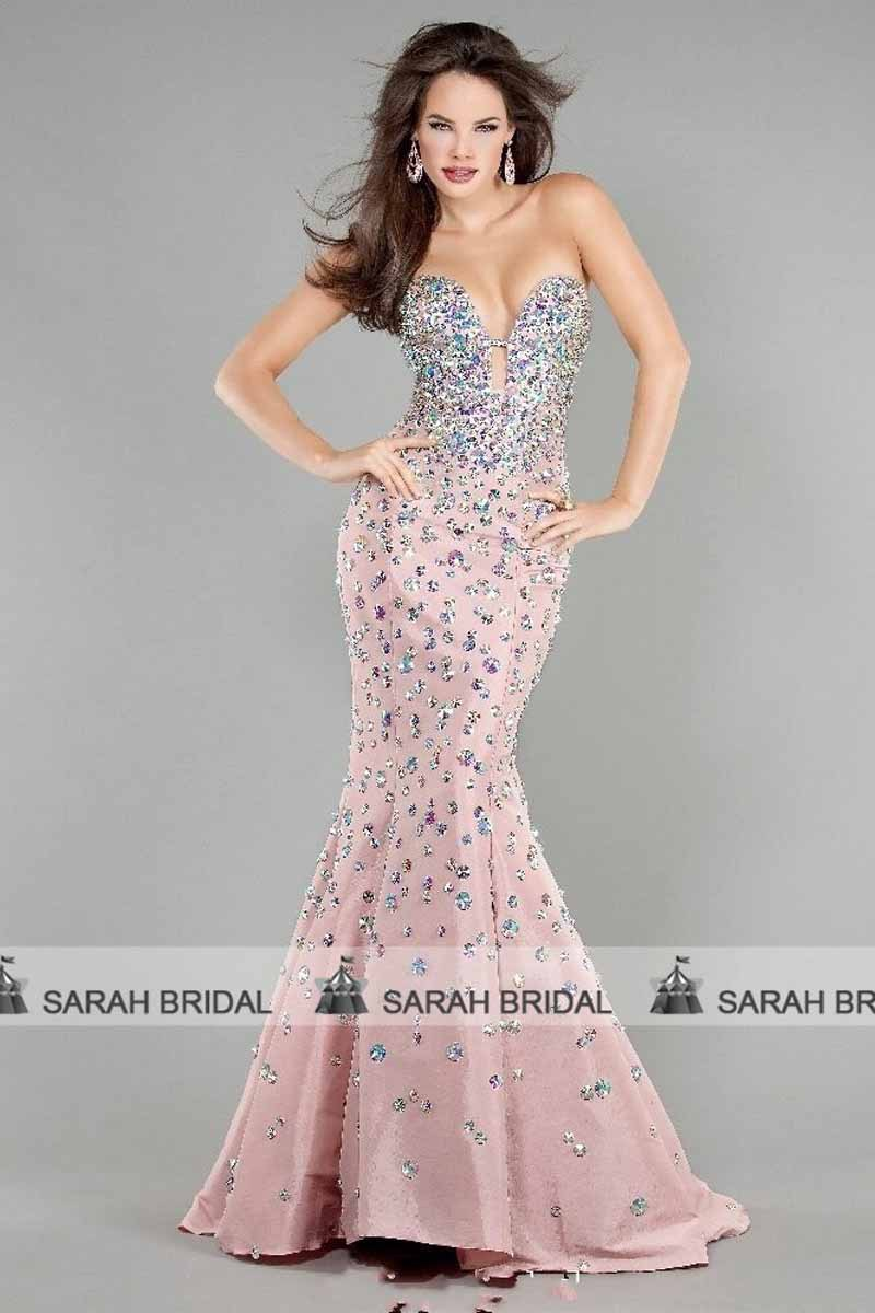 Shiny Ab Crystal Mermaid Evening Dress Sweetheart Y Cut Out Trumpet Pink Prom Dresses 2017 New Pageant Gowns Ed108 In From Weddings