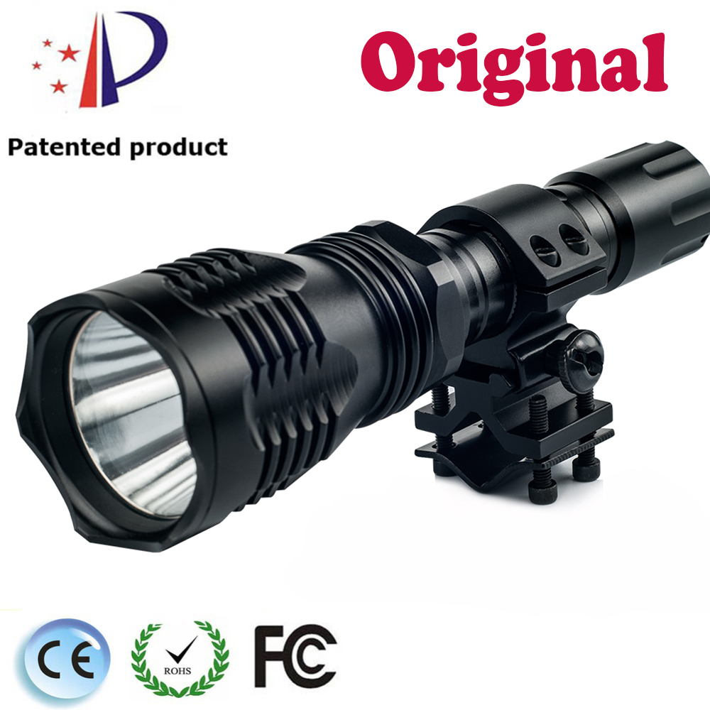 UniqueFire Hog&Coyote Hunting Flashlight HS-802 Cree XP-E(Green/Red/White Light)Led Lamp Light Flashlight 3Mode With Scope Mount