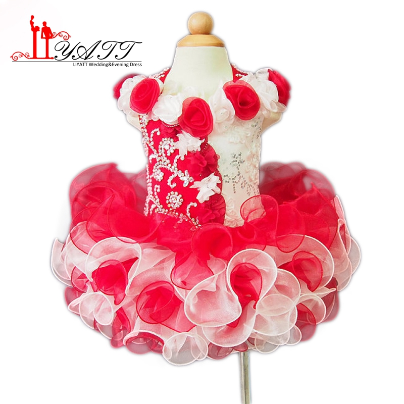 2016 Glitz Kız Pageant elbise 2016 Balo Boncuk Ruffles Organze Çocuklar/Bebek Balo Küçük Çiçek Kız Elbise