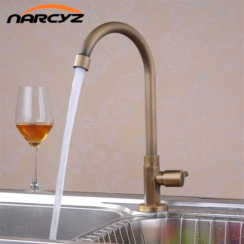 Kitchen Faucets Single Cold Taps Antique Brass Finished Deck Mounted torneiras para banheiro crane XT912