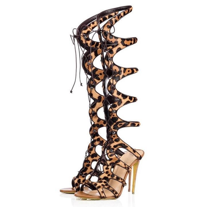 New Arrivals Leopard  High Heel Sandals Women Cross Straps Thin Heels Shoes Fashion Summer Long Boots Customzied Party Shoes