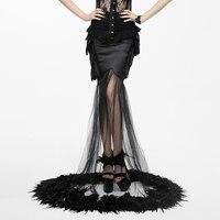 Готическое с цветочным принтом перья и землю юбка Хэллоуин перспектива сексуальная юбка «рыбий хвост» черный Сращивание сетки Вечерние юб