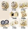 Alta-grau de qualidade por atacado do metal do ouro camisa de pedra pequenos botões acessórios de vestuário DIY 30 pcs lot nova frete grátis 8 Estilos