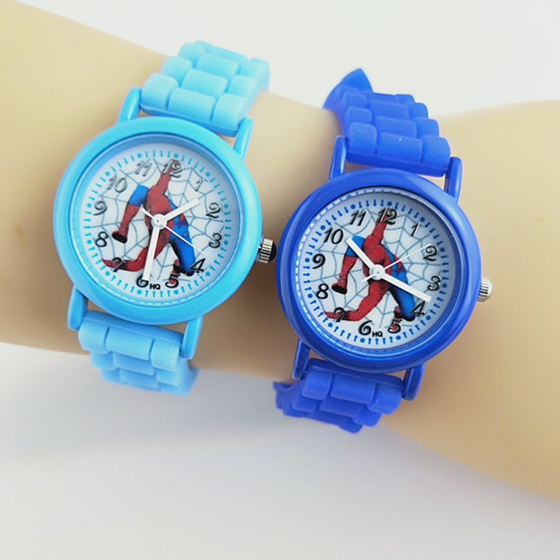 New hot sale printing silicone with spiderman children's watch casual quartz rubber watch boy cartoon kids watches