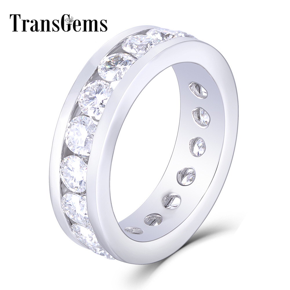 TransGems 18K White Gold 4mm F Color Moissanite Eternity Band Engagement Ring Dailywear Fine Jewelry For