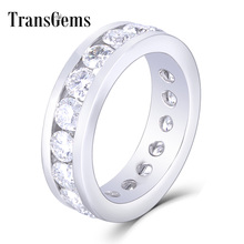 TransGems 18K White Gold 4mm F Color Moissanite Eternity Band Engagement Ring Dailywear Fine Jewelry For Women Anniversary Gifts helon half eternity band women s fine jewelry solid 10k rose gold pave natural diamonds engagement wedding eternity fine ring
