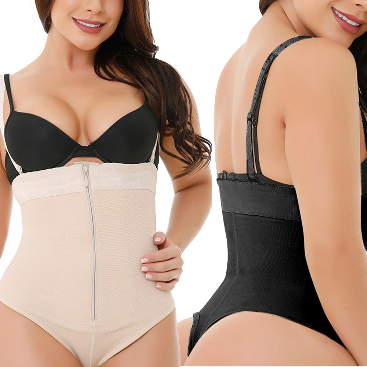 Black Underbust Plus Size Bodysuit Waist Control Slimming