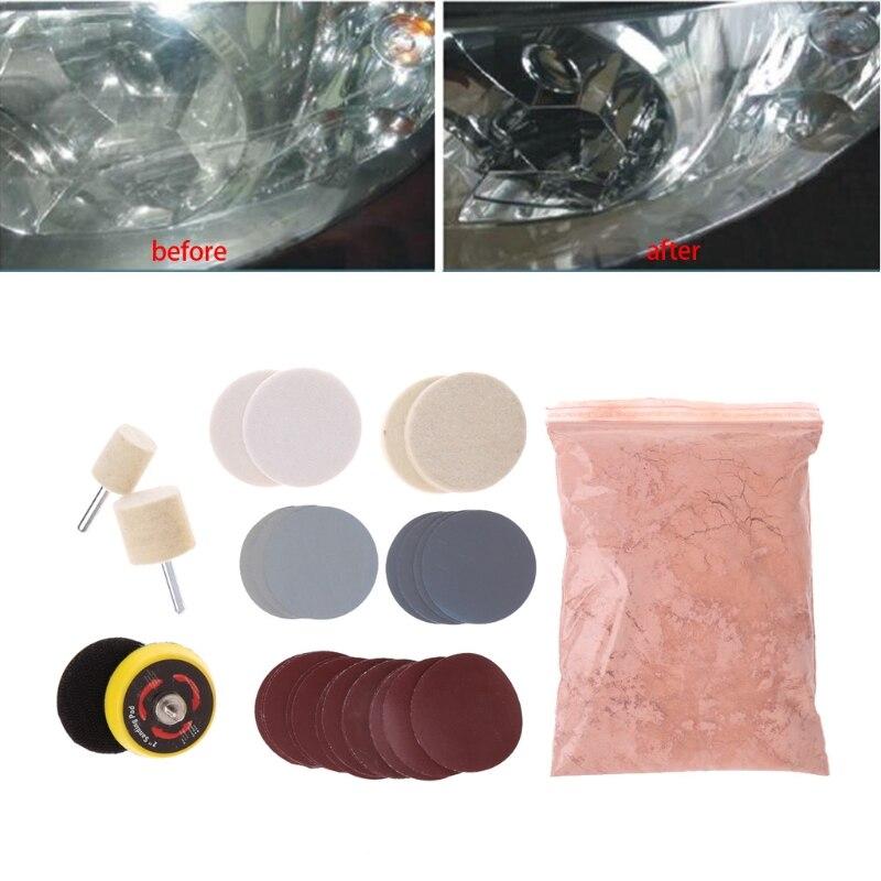 Remove Glass Polishing Kit 8 Oz Cerium Oxide Sanding Disc Wool Polishing Pad For Windscreen Windows