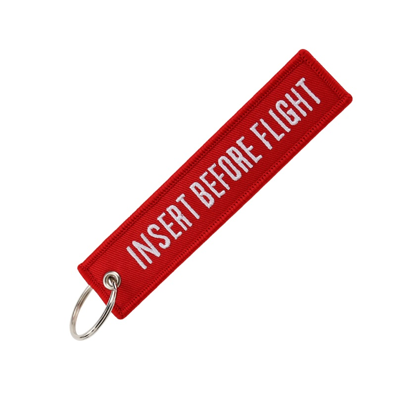 Fashion Jewelry Keychain for Motorcycles and Cars OEM Key Chains Red Embroidery Key Fobs INSERT BEFORE FLIGHT  Key Chain Tag 02(9)