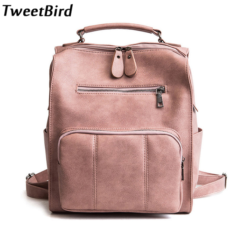 bf058e0aa5cc TweetBird 2018 Spring New Fashion Women School Backpack Collage Wind Casual  Leather Backpack Student Travel Shoulder