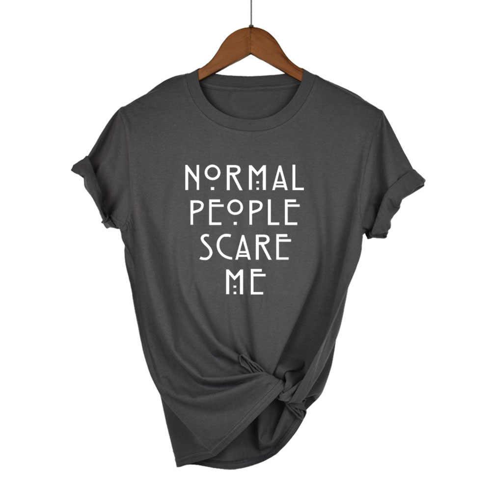 Kobiety bordowy T-shirt bawełna normalne ludzie przestraszyć mnie drukowane śmieszna damska bluzka z krótkim rękawem lato topy tumblr Camisetas Mujer