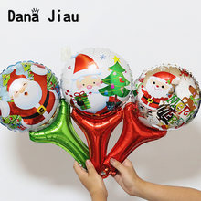 Merry christmas decoration hand stick balloon happy new year kids gift party DIY ballon boy Santa Claus snowman tree ball(China)