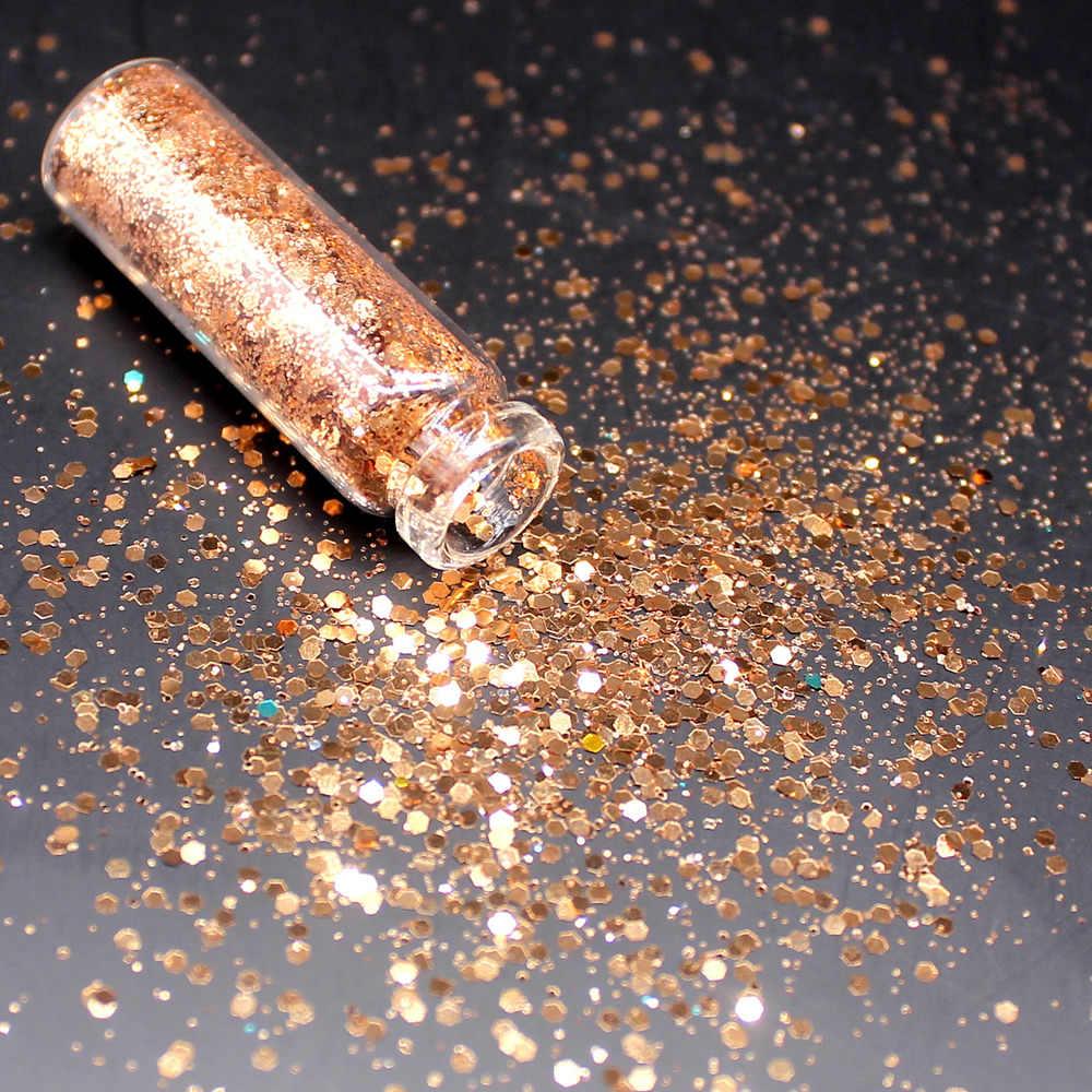 1 Fles Geel Holografische Sequin Glitter Cosmetica Ogen Lip Gezicht Make-Up Glitter Shimmer Poeder Monochrome Ogen Baby Bruid Peer