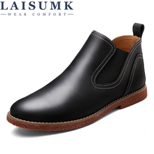 LAISUMK Vintage British Style Genuine Leather Men'S Outdoor Fashion Chelsea Ankle Boots Round Toe Riding Man Work High-Top Shoes new arrival man handmade flat platform shoes genuine leather round toe carved men s cowboy riding high top ankle boots js22