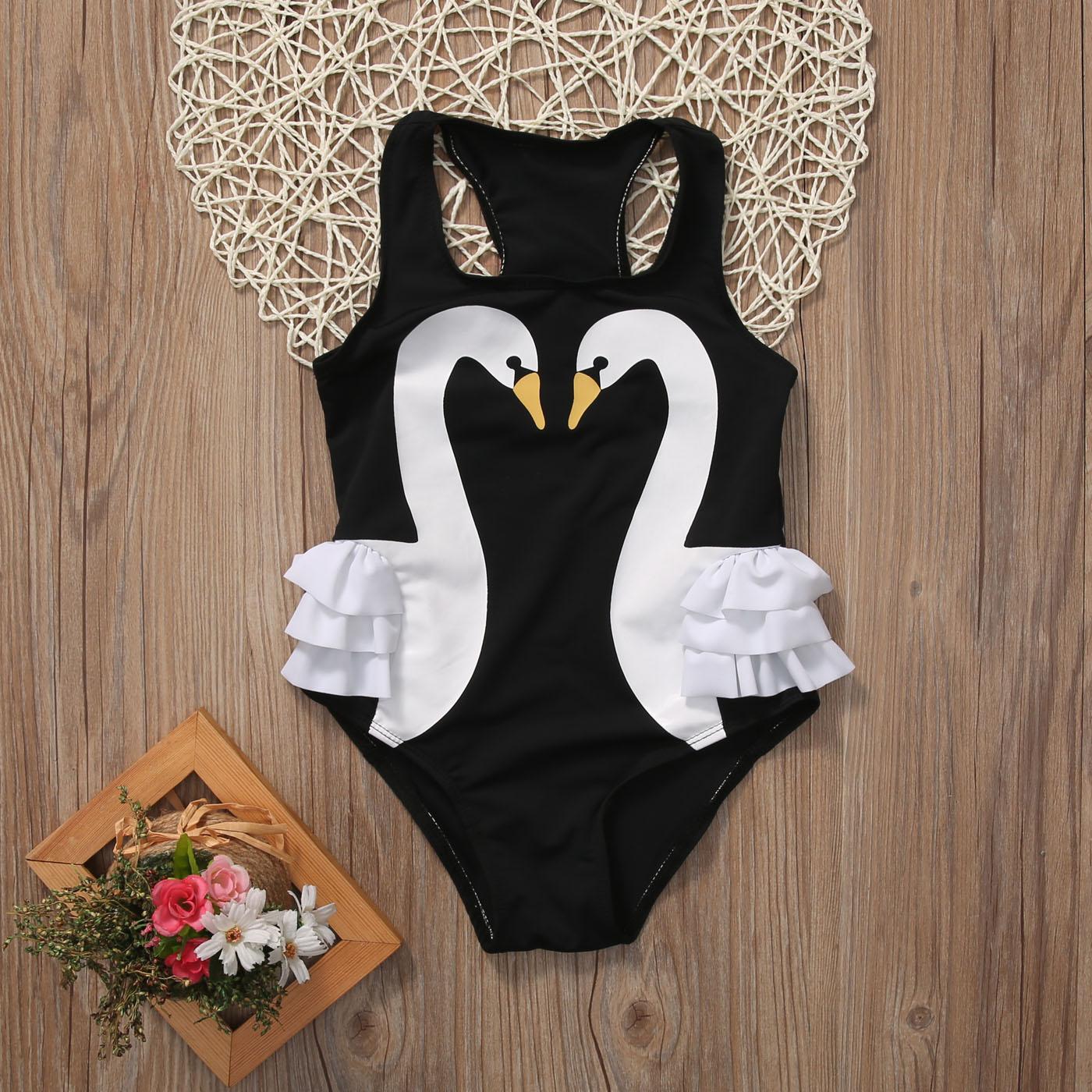 Pudcoco Toddler Kids Baby Girl Swan Ruffle Bikini Suit Swimsuit