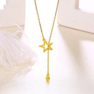 Image 2 - Btss 24 k puro ouro colar real au 999 corrente de ouro sólido bonito luxo na moda clássico festa jóias finas venda quente novo 2020
