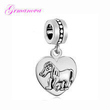 Beads jewelry jewelry bracelet zinc alloy jewelry pendant horse heart pendant charm beads Fit Pandora Necklace bracelet(China)