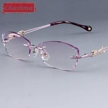 Eyeglass Frames with Rhinestone Women Computer Glasses lentes mujer Transparent Spectacle Frame Rimless Optik