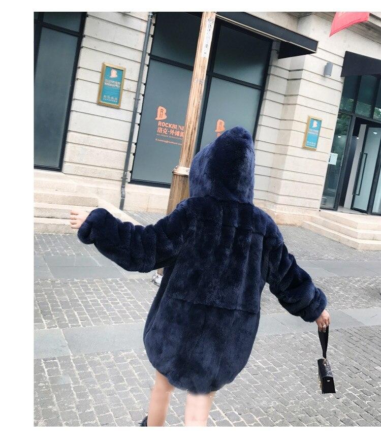Capuche Manteau Grande Boyfriend Rouge Vêtement Taille Veste Pullover Vestes À Rex Outwear Lapin De Tendance Gris Parka Bleu Fourrure TqTS8v