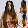 2016 fashion ombre two tone synthetic brown hair wigs cheap top quality long straight full head heat friendly wig no bangs