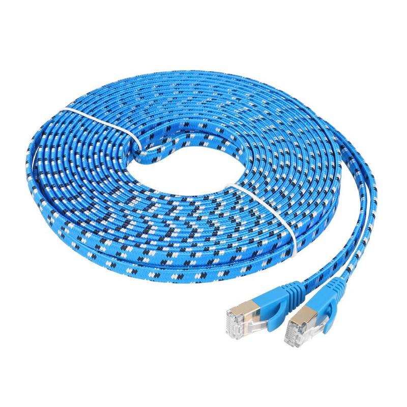 49FT Cat 7 RJ45 Ethernet Flat Patch Network LAN Shielded Internet Cable 10Gbps
