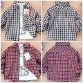6month-2years младенцы шотландка рубашки длинная - рукав свободного покроя 100% хлопок одежда весна и осень младенцы одежда