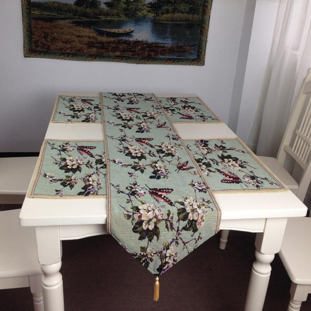 New Chinese Style Plum Flower And Butterfly Classic Table Cloth Table Runner  Set Polyester And Cotton