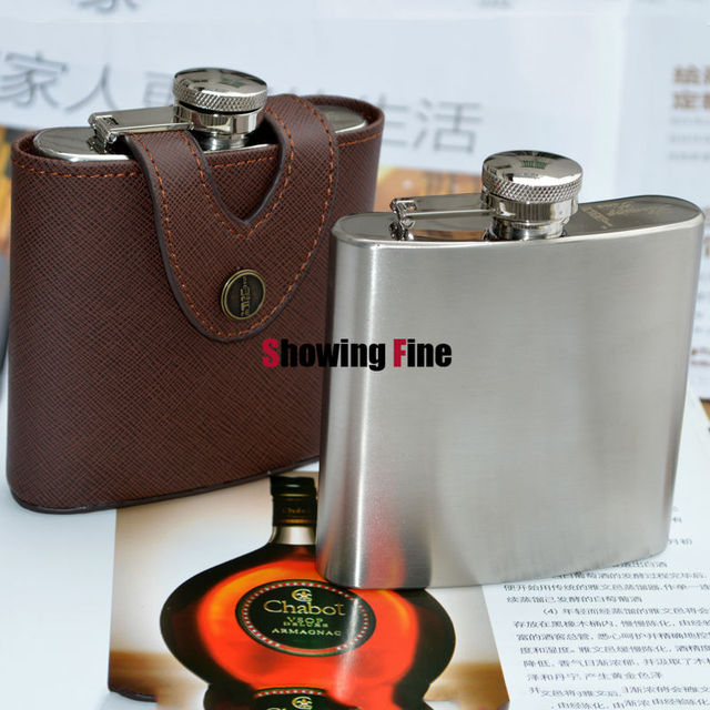 6OZ  8/18 Stainless Steel Hip Flask Outdoor Bottle Drink Flasks alcohol Whisky Hipflask with Leather Case Convenient to Carry
