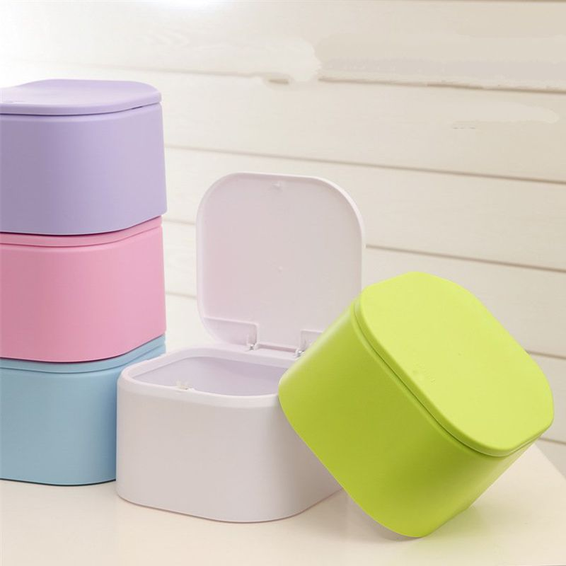 Colorful square storage barrels Desktop household mini debris bucket Storage bucket with lid plastic trash box