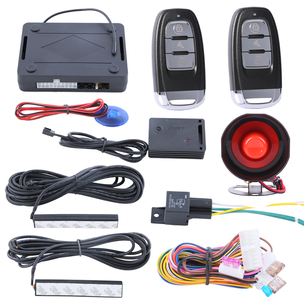 Security PKE car alarm system passive keyless entry, remote arm disarm the cars, central lock automation, 433.92MHZ universal one way car alarm security system with four buttons remote transmitters suitable for all kinds of cars fast shipping