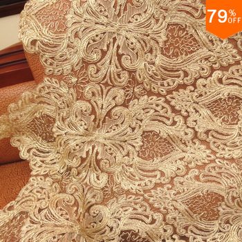 The Golden baroque hearts A  big lace fabric voile  tulle fabric high quality swiss laces switzerland telas for  party dress New