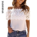 5XL 6XL new summer women boho blouse sexy women lace patchwork casual off shoulder solid shirts slash floral top plus size wear