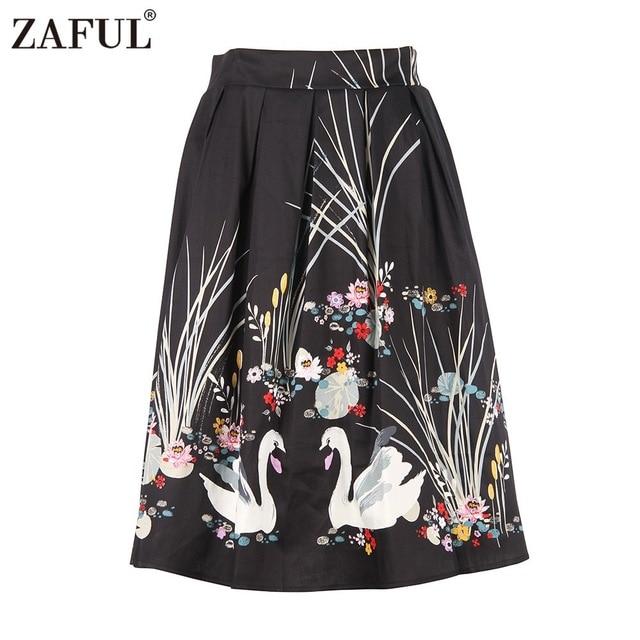 ZAFUL 2017 лето-осень цветочный Лебедь женщины печати юбки для девочек красный хлопок Высокая Талия бальное платье Vintage 50 s плиссированная юбка миди Новый