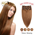 Real Human Hair Clip In Extensions 120g Brazilian Clip In ins Brown Blonde Full Head Clip in Human Hair Extensions 160g 10pcs