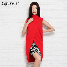 Lafarvie New Cashmere Blend Long Vests Women Knitted Sweater Winter Outerwear Female Turtleneck Sleeveless Solid Color Pullover