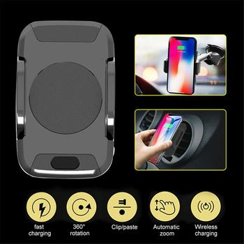 Cargador de coche inalámbrico rápido con Sensor automático soporte de teléfono para aire acondicionado cuna para IPhone 8 8 Plus X Samsung S9 S8 S7