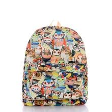 2016 новая мода симпатичные сова печати рюкзак шаблон холст печати рюкзаки женский двойной компьютер мешок школы дорожные сумки девушки