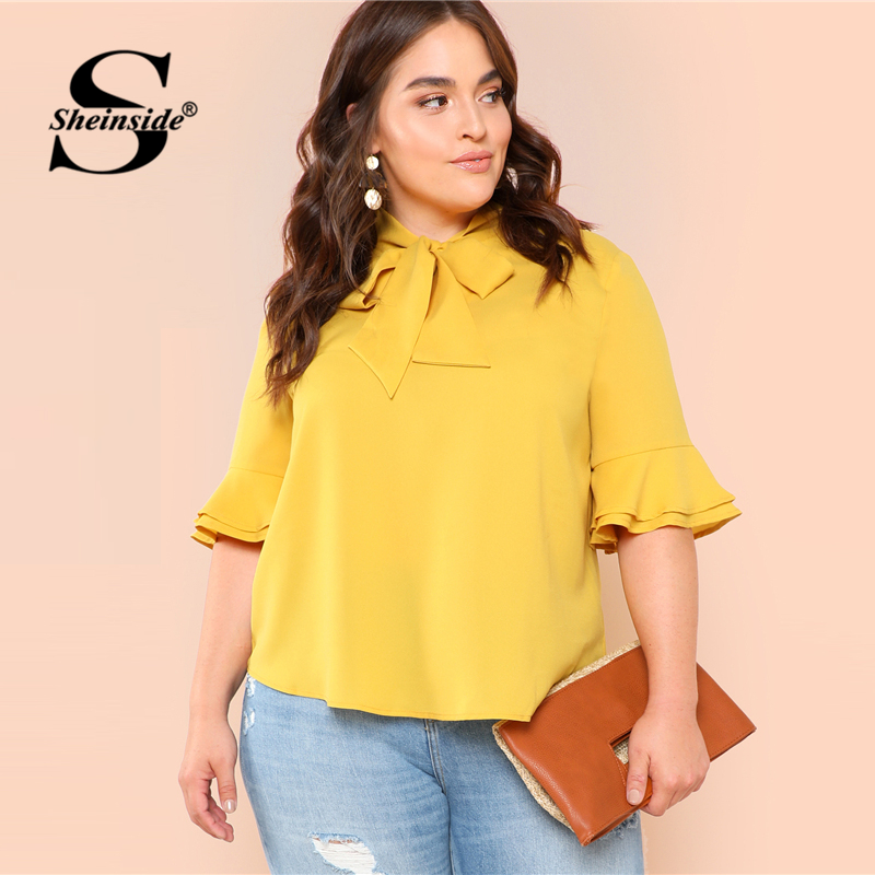 c1ecd7d1f79961 Aliexpress.com : Buy Sheinside Plus Size Plain Yellow Tie Neck Workwear Top  Office Ladies Flounce Sleeve Ruffle Bow Solid Women Summer Elegant Blouse  from ...