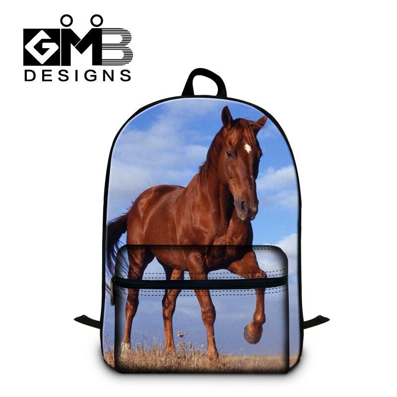 Animal School Backpacks Pattern for Teenager Boys Lightweight Back Pack for Students Children Cool Red Horse Mochila Bookbag