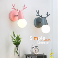 Nordic Adjustable LED Wall Lights Colorful Cartoon Deer Antlers Reading Sconce Wall Mounted Children Room Bedroom Lighting E27