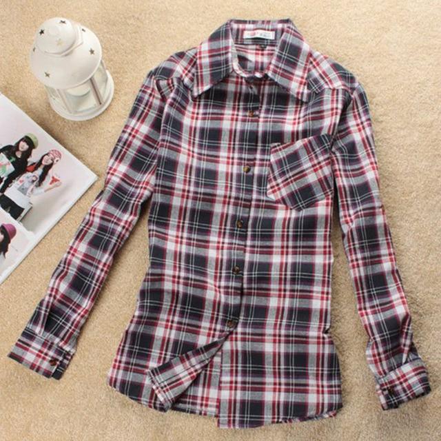 Fashion long Sleeve women blouse shirt ,Lattice shirts,Single Breasted tops cotton blouse