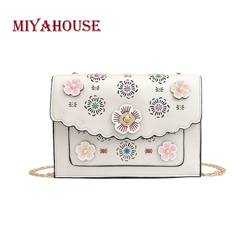 MIYAHOUSE fashion flower small square bag Korean version of the tide wild chain shoulder bag leather handbags Messenger bag